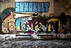 Winter, Night Graffiti (Water Lilly) Tags: park street winter snow streetart art night d50 bench square graffiti nikon grafiti hiver serbia neige belgrade nuit zima beograd banc noc srbija sneg serbie klupa klupe wlhdj