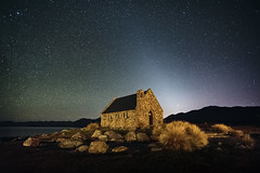 Starfield at the Church of the Good Shepherd (Luke Tscharke) Tags: newzealand church sunrise stars geotagged roadtrip nz laketekapo churchofthegoodshepherd 30seconds tussocks geo:lat=44003436624764014 geo:lon=17048217970565724