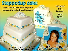 STEPPED UP TOPSY STAGGERED STEPS CAKE (Anita (Auckland Cake Art)) Tags: birthday new wedding party baby art cakes up cake island stag chocolate turquoise auckland zealand frangipani samoa pacifica samoan stepped hens fondant tongan offcentre frangipanis sugarpaste cricut aucklandcakeart