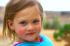 Little Actress (consultjohan) Tags: blue portrait girl kid child young naturallight blond tanja