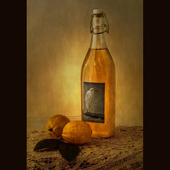Lemoncello (Leenda K) Tags: stilllife lace lemons labels lighttent lemoncello leendak thankyoudarkwood67 magicunicornmasterpiece