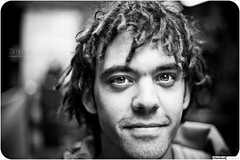 Timo #212 (The Urban Scot) Tags: portrait london dreadlocks canon mono eyes flickr camden streetportrait stare dreads gaze camdentown timo urbanportrait londonmeet 100strangers urbanscot canon5dmkii june2012 pmcconnochie blackandsite 100strangerslondon
