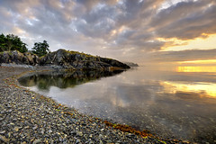 Earth Sky Sea (Ireena Eleonora Worthy) Tags: sunset sea canada storm reflection beach fog bc britishcolumbia nanaimo vancouverisland neckpointpark northernstraitsphotography