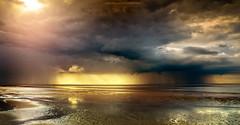 New Brighton Storm (Lee Carus) Tags: new sea irish storm reflection golden brighton wind farm sony 7 estuary mersey nex