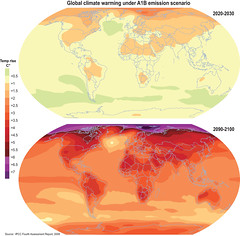 Global climate warming under A1B emission scenario (Zoi Environment Network) Tags: world nature ecology weather map projection change environment geography temperature rise increase climatechange climate warming forecast prediction global globalwarming emission a1bscenario