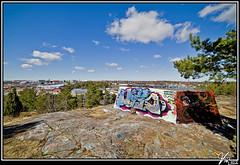 Mikkolanmäki (ViTaRu) Tags: city blue summer sky colors ackack canon finland landscape graffiti view turku decay bunker 5d base defence aa antiaircraft jatkosota varsinaissuomi continuationwar mikkolanmäki 19411944 2880f2840l