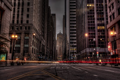 Welcome to Gotham (Christopher.F Photography) Tags: street chicago night downtown lasalle gotham hdr hdri lighttrail