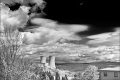 geothermal power plant (heavenuphere) Tags: travel bw italy plant landscape ir energy italia power tuscany electricity toscana geothermal 1022mm traveldestinations larderello