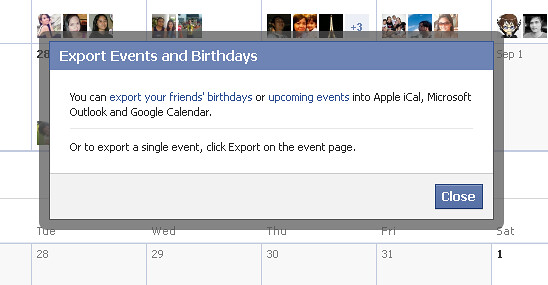 Export events from Facebook Calendar