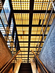 Gold \ Stone (@ThetaState) Tags: windows urban toronto ontario canada reflection glass architecture grid gold lights escalator july bank symmetry ceiling granite miesvanderrohe baystreet 2012 tdcanadatrust visipix