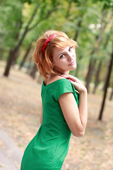 green in autumn (Mary Oceans) Tags: street autumn red summer portrait people woman color green love nature girl beautiful beauty smile closeup youth contrast happy daylight spring nice saturated model eyes close dress bokeh maria mary joy young glad sensual curly bow seduction redhair gaze tender nicey headband fairhair