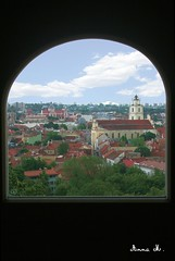 Vilnius through the window (Anna Mrida) Tags: city houses summer sky urban building verde green church window architecture clouds buildings ventana town arquitectura edificios view horizon edificio iglesia ciudad cel paisaje finestra cielo nubes verano vista scape lithuania vilnius horizonte cases verd ciutat estiu nuvols edifici vilna paisatge lietuva edificis esglesia lituania horitz urb
