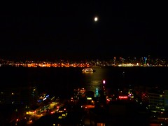 Moon: Almost full (Peggy2012CREATIVELENZ) Tags: moon canada skyline night vancouver lights bc harbour blinkagain peggy2012creativelenz p1230850a