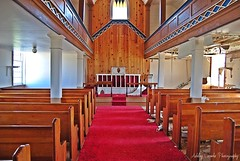 Bethany United Church, Petites, Newfoundland (Ashley Coombs) Tags: red summer church newfoundland august stainedglass birch alter pews portauxbasques abanoned petiites