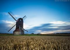 Stevington Windmill (byrne_photography) Tags: uk longexposure blue sunset england sky windmill beautiful field canon landscape countryside hay dslr