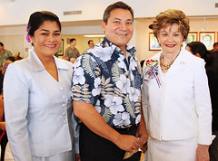 Gov. and First Lady Eddie Calvo with Rep. Bordallo