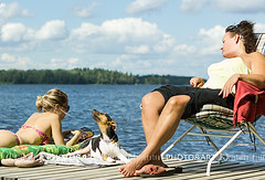 Sniffing the wind (Chrisseee) Tags: family vacation dog lake holiday dock air daughter mother relaxing lakeside resting lying sunbathing smelling