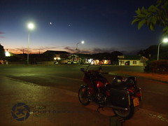 Ready For The Nightride (jan-krux photography) Tags: light sky moon bike night southafrica evening licht dorf village riding motorcycle e5 lampen westerncape laternen suedafrika daysend classicbike zd kommetje southatlantic 1454mm lamplights bmwmotorrad motorbiketouring 1981bmwr100rt