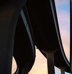 Fremont bridge, in color (Zeb Andrews) Tags: sunset film oregon portland bridges pacificnorthwest analogphotography fremontbridge urbanfragments colorfilm pentaconsixtl kodakektar100 wherethetrollslive
