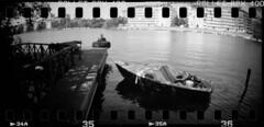 312 RPX 18 (rubbernglue) Tags: blackandwhite bw analog coast boat dock sweden stockholm d76 sverige filmphotography sprocketholes sprocketrocket filmexif rolleirpx bwfp