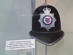 British Transport Police, Policemans Helmet. (ManOfYorkshire) Tags: btp british transport police helmet guard policeman uniform pointed badge badges 1999 kevingordon columbus cheltenham officer sergeant sarge