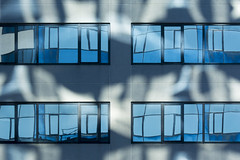Reflections III (Jan van der Wolf) Tags: map15296v abstract lines reflection reflections reflectie interplayoflines architecture architectuur voorburg windows ramen blue symmetry geometry lijnen