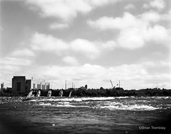 Rapids (Brian Tremblay, photographer) Tags: blackandwhite ontario canada art landscape ilford largeformat saultstemarie crowngraphic filmphotography