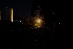 ([gegendasgrau]) Tags: city railroad light sky urban industry lamp night yard train lampe licht mood moody tank darkness nightshot nacht perspective himmel atmosphere eisenbahn railway gas nightlight infrastructure rails environment nightsky nightlife feeling melancholy industrie gastank perspektive fright tristesse flavour gasometer infrastruktur dunkelheit layup ambiance schienen nachtleben fr8 nachthimmel melancholie atmo frightyard