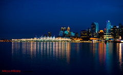Canada Place Vancouver (Mirco Millaire Photography) Tags: park blue sky canada water vancouver canon buildings reflections boats lights downtown pacific walk sails tourist seawall stanley burrardinlet stanleypark bluehour colourful yachts canadaplace coalharbour 1740f4l 60d excapture