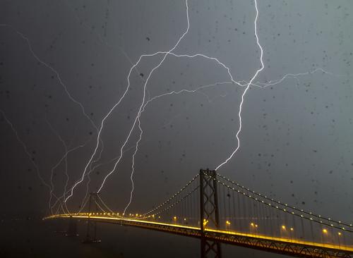 Bay Bridge Lightning Strike! (phil_mcgrew) sanfrancisco california longexposure nightphotography bridge baybridge bolt bayarea strike sanfranciscobay lightning
