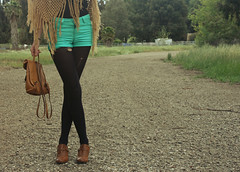 IMG_2845 (noelebelle) Tags: brown selfportrait cute nature girl fashion self canon myself outfit shoes teal crochet hipster style fringe tights purse thrift backpack heels shorts boho poncho lookbook