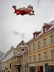 flying boy ,Karlsson-on-the-Roof (gruntpig) Tags: old red man building architecture buildings town flying colorful tallinn estonia colourful quaint lampstreet colorcolour