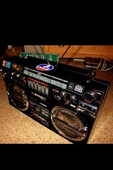Ghettoblaster (TylerTierney) Tags: original classic radio canon bass nj pop oldschool chrome jersey hiphop boombox speakers bayonne ghettoblaster gangstarr tapedeck biggie workofart bumping bigl tribecalledquest lasonic trc931 turbobass