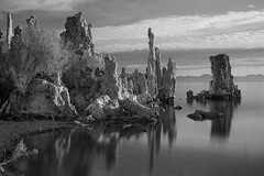 Tufa Tower Rock Formation @ Mono Lake (Claire Chao) Tags: california longexposure morning blackandwhite bw cloud lake reflection water monochrome rock clouds still rocks earlymorning overcast calm limestone monolake sierranevada tufa tranquil rockformation longexposures easternsierra leevining llens tufatower 50mmf12 canonllens usawest salinelake canoneos5dmarkii southshoretufa tufatowerrockformation