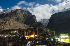 Hunza Valley (M.Omair) Tags: winter pakistan light sunset moon snow mountains cold tre