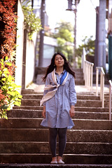 Summer Breeze (Jason_Combs) Tags: people woman film girl japan stairs person japanese 50mm tokyo store   aoyama   minamiaoyama   rokkor kodakportra400 minoltasrt102