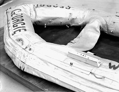 GRCA 13670 Grand Canyon Historical Boat Collection_Georgie's Raft (Grand Canyon NPS) Tags: blackandwhite history boats dock rust kayak coloradoriver raft georgie gem jetboat preservation grandcanyonnationalpark kirschbaum rivertravel sportyak