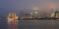 A Foggy Evening in Pudong, Shanghai (Thainlin Tay) Tags: china skyline river lights evening boat junk shanghai centre chinese foggy business  pudong financial huangpu