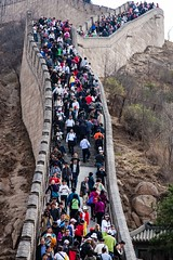 Great Wall at Badaling - Full House (Sean Maynard) Tags: china people mountain history stone architecture stairs climb ancient hill crowd tourists full climbing busy greatwall crowds touristattraction steep crowded throngs china2012 lpfull