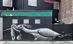 graffiti by phlegm (Harry Halibut) Tags: old red white house black brick green bird public metal wall bag person fantastic pub artist traffic cone gates fantasy derelict allrightsreserved grilles unused phlegm publicartinsheffield grafifiti heffield colourbysoftwarelaziness imagesofsheffield 2012andrewpettigrew padlockbird sheff1207152714