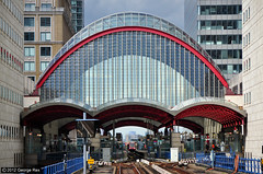 Canary Wharf / DLR Station (George Rex) Tags: uk greatbritain england london glass station architecture unitedkingdom britain steel transport railwaystation gb docklands canarywharf dlr railtracks docklandslightrailway explored londonboroughoftowerhamlets canarywharfdlr grxa23 photographygeorgerex georgerexphotography gecmowlem
