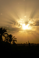 Sunset at Edfu - 02 (MikePScott) Tags: camera trees sunset sky plants sun tower clouds river events egypt nile aswan waterway edfu topography builtenvironment architecturalfeatures panasonicdmcfz30 featureslandmarks towersetc
