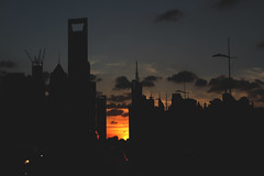 Shanghaii (Avery) Tags: world blue sunset red orange cars silhouette clouds dark lights shanghai you jin center mao financial shining greyclouds swfc