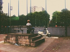 Watching the games (bayek photography) Tags: summer playing game london bench watching streetphotography scooter games northlondon bayek vscocam