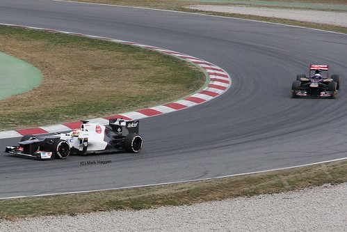 Sergio Perez in his Sauber F1 car in Winter Testing, Circuit de Catalunya, March 2012