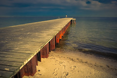 The Other Side (Rutger Blom) Tags: bridge sea sky beach coast pier skne sand europe sweden shore sverige scania 52mm zweden ystad skane canonpowershots100 5226mm