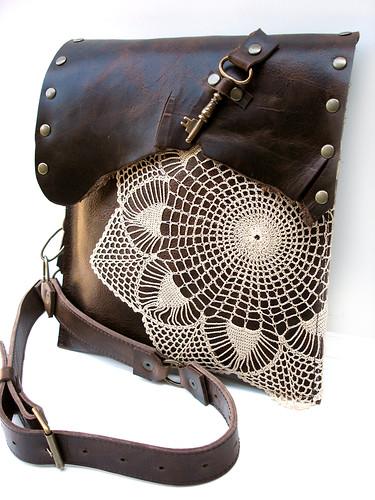 203814c63d Urban Heirlooms Leather Boho Bag w Crochet Doily   Antique Key