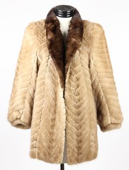 3020. Blonde Mink Jacket with Brown Collar