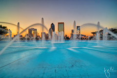 Jacksonville Skyscrapers over the Fountain | EXPLORED Front Page (Ton Ten) Tags: sunset fountain architecture landscape skyscrapers florida nd jacksonville hdr zf2 distagont2821 zeisscontest2012