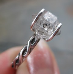 Herkimer Diamond Ring (AshleighAnnette) Tags: raw natural faceted celtic organic rough quartz gemstone sterlingsilverring herkimerdiamond silversmithed